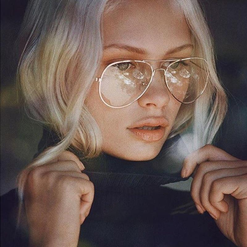 Classic Oversized Pilot Aviator Stainless Steel Eyeglasses and Night Vision Transparent Frames Women's Eyewear Frames PangPang Store