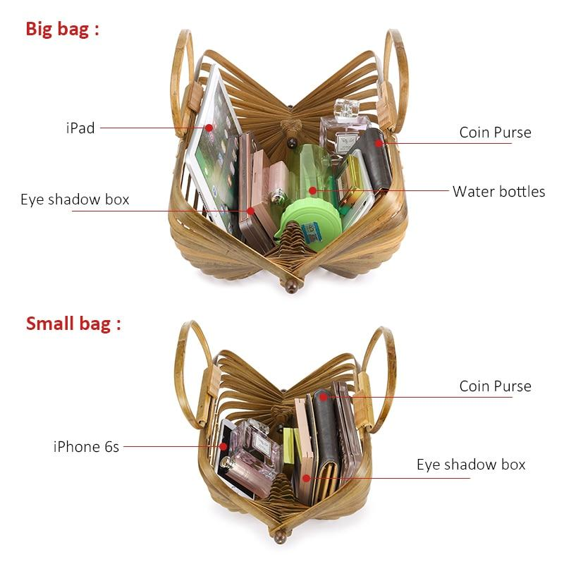 Artsy Handmade Collapsible Hollow Woven Organic Bamboo Shopping Handbag Top-Handle Bags Lovevook Official Store