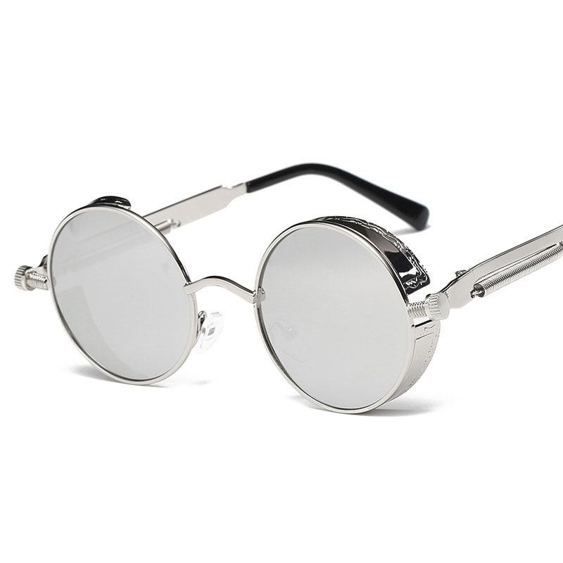 The Vintage Silent Black and White Movies Round Steampunk Metal Sunglasses Men's Sunglasses MOLNIYA Official Store