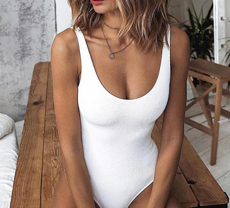 The Low Back Ribbed Sleeveless Scoop Neck Tank Top Slimming Bodysuit Bodysuits Nadafair Boutique Store