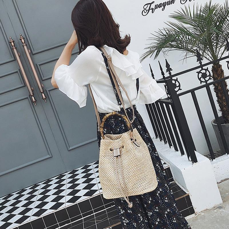 Summer Vacay Drawstring Straw Woven Bucket Shoulder Bag and Handbag Top-Handle Bags Highgo Store