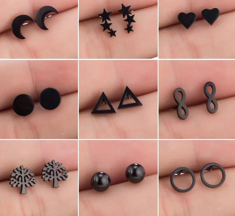 The Assorted Colors Allergen-Free Non-Toxic Stainless Steel Super Cute Minimalist Geometric Stud Earrings Collection Stud Earrings SMJEL Official Store