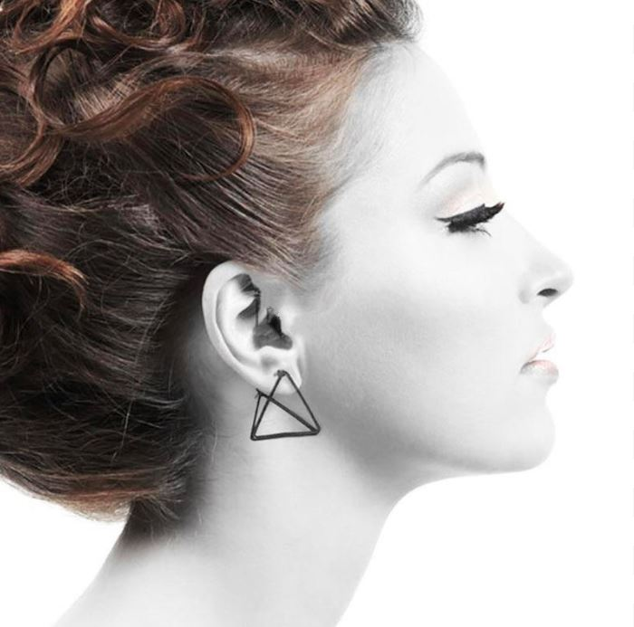 The 3D Ultra Contemporary Polygon Stud Earrings Collection Stud Earrings Cos Store Black Triangle