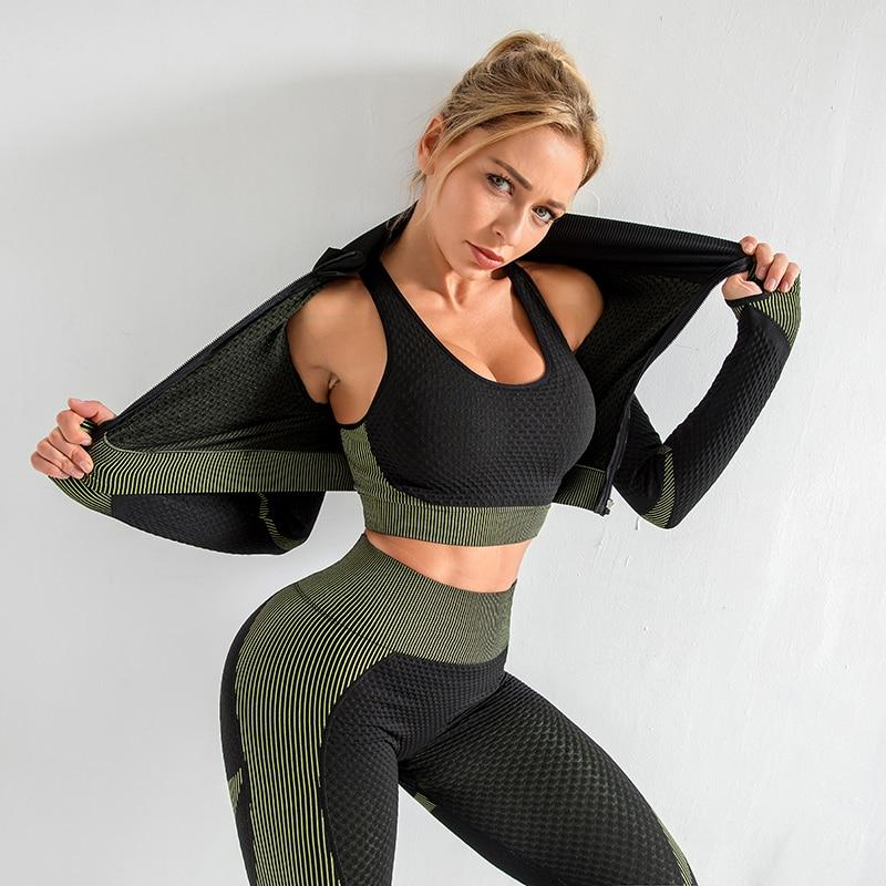 The Warrior Goddess Yoga Gym Seamless High-Waisted Ultra Performance Leggings Sports Bra and Mock Neck Crop Jacket Home AJISSI Sportwear Store Tactical Army Green Set (Complete Suit) (3 pcs) S