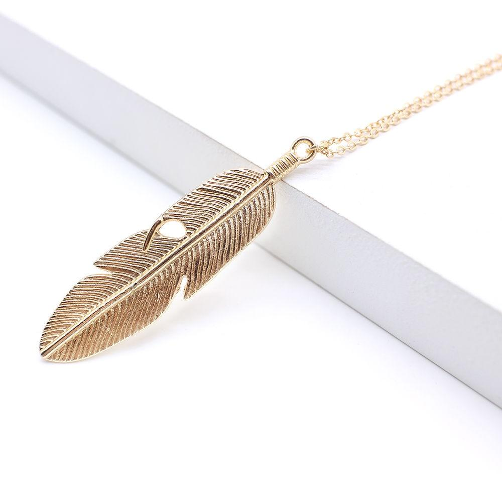 Power of Peace Classic Long Feather Pendant Necklace Pendant Necklaces HMIXN outlet Store