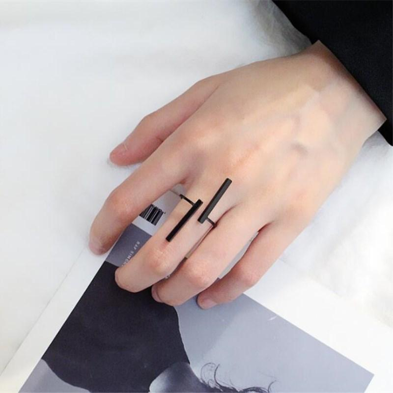 The Unisex Minimalist Architectural Sculpture Art Simple Linear Open Bar Mood Tracker Geometry Free Size Ring Rings TimLee Official Store