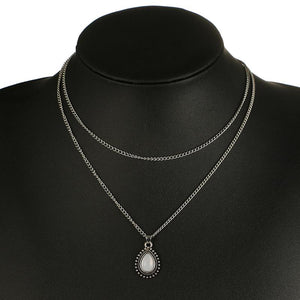 The Bohemian Mermaid Water Drop Synergy Crystal Charm 2-in-1 Choker Necklace Silver Choker Necklaces Tocona Official Store Silver