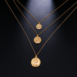 The Supremely Classic Vintage Pendant Necklace And Choker Carved Coin Layering Collection Pendant Necklaces KISSWIFE Official Store