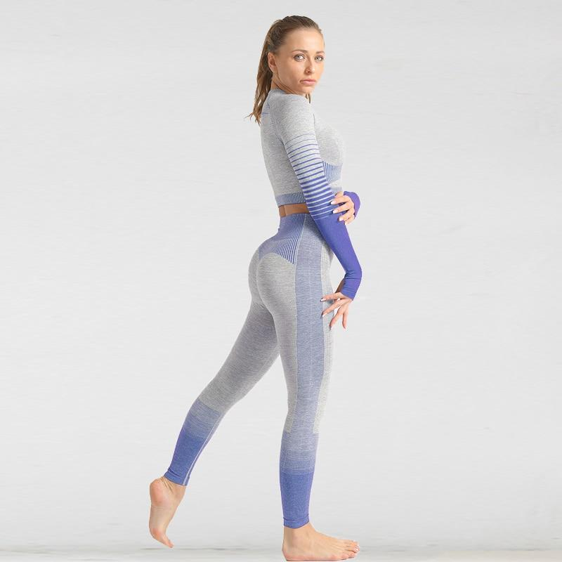 The Extreme Velocity Slimming Gradient Push-Up High-Waisted Seamless Yoga Gym Leggings & Long Sleeve Crop Top (LIMITED EDITION) Yoga Sets AJISSI Sportwear Store Blue Purple Magic Long Sleeve Set (2 pcs) S