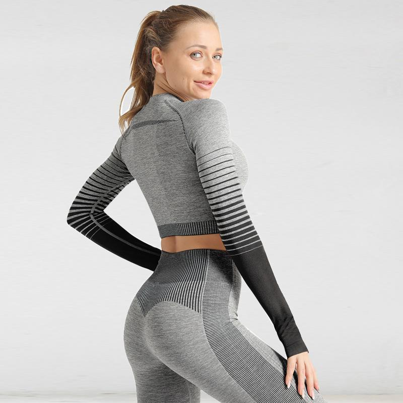 The Extreme Velocity Slimming Gradient Push-Up High-Waisted Seamless Yoga Gym Leggings & Long Sleeve Crop Top (LIMITED EDITION) (For Bundling) Yoga Sets AJISSI Sportwear Store Black Fox Ninja Long Sleeve Set (2 pcs) S