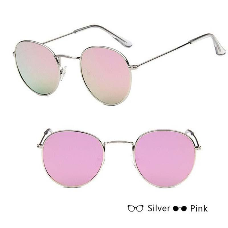 Classic Round Sun Street Beat Unix Mirror Sunglasses Women's Sunglasses RBROVO Official Store Silver Pink