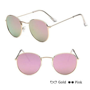 Classic Round Sun Street Beat Unix Mirror Sunglasses Women's Sunglasses RBROVO Official Store Gold Pink