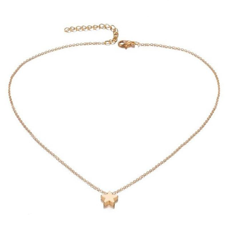 The Teeny Tiny Little Shining Hearts Stars Holding Big Love Choker Necklaces Pendant Necklaces AILEND Official Store Tiny Star Gold