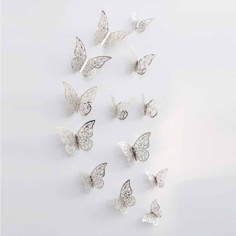 3D Hollow Metallic Shimmer Butterfly Addictive Decor Party Wall Stickers (12 Pcs) Wall Stickers White windmill Store Silver C