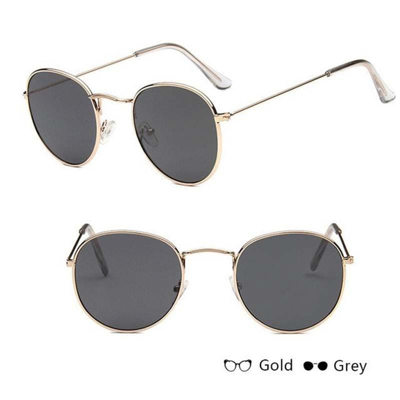 Classic Round Sun Street Beat Unix Mirror Sunglasses Women's Sunglasses RBROVO Official Store Silver Gray