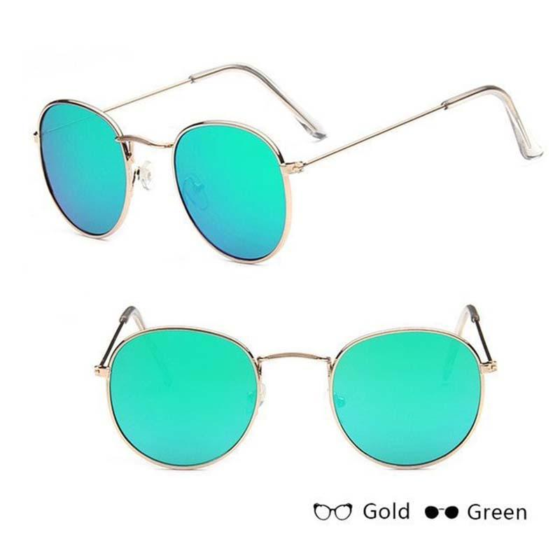 Classic Round Sun Street Beat Unix Mirror Sunglasses Women's Sunglasses RBROVO Official Store Silver Green