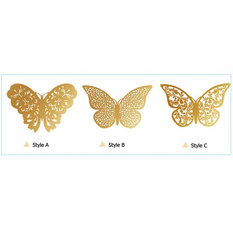 3D Hollow Metallic Shimmer Butterfly Addictive Decor Party Wall Stickers (12 Pcs) Wall Stickers White windmill Store