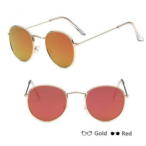 Classic Round Sun Street Beat Unix Mirror Sunglasses Women's Sunglasses RBROVO Official Store Gold Red