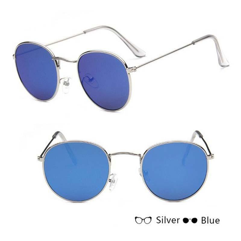 Classic Round Sun Street Beat Unix Mirror Sunglasses Women's Sunglasses RBROVO Official Store Silver Blue