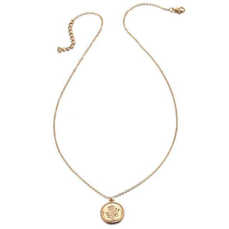 The Teeny Tiny Little Shining Hearts Stars Holding Big Love Choker Necklaces Pendant Necklaces AILEND Official Store The Golden Flower Engraved Coin