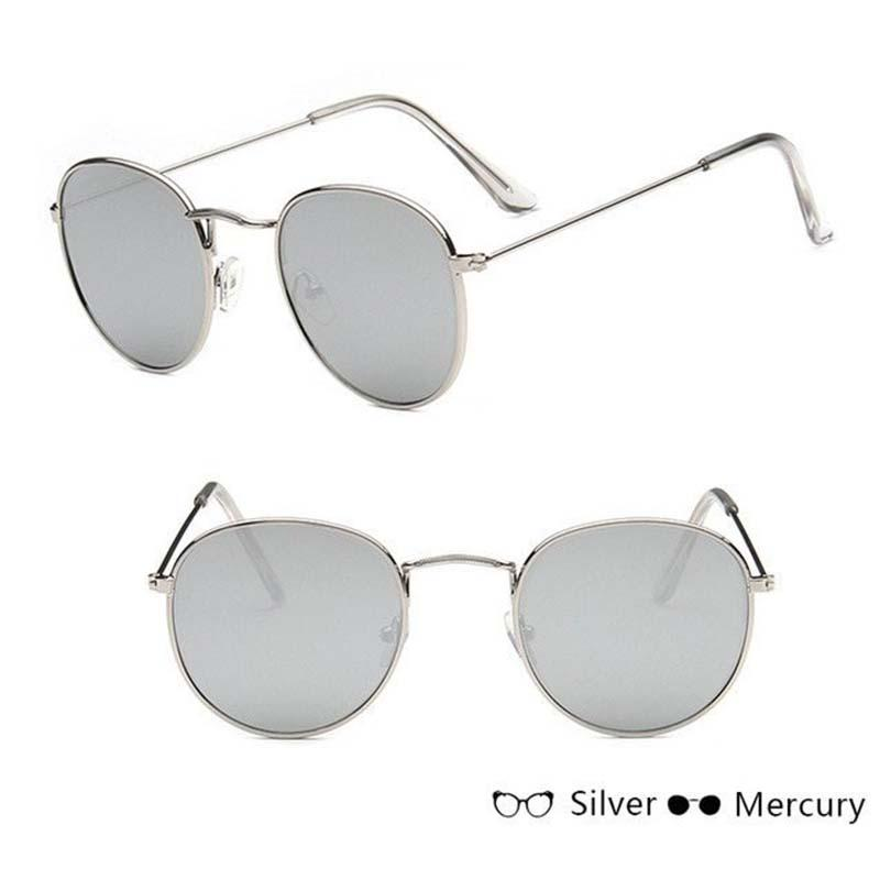 Classic Round Sun Street Beat Unix Mirror Sunglasses Women's Sunglasses RBROVO Official Store Silver Silver