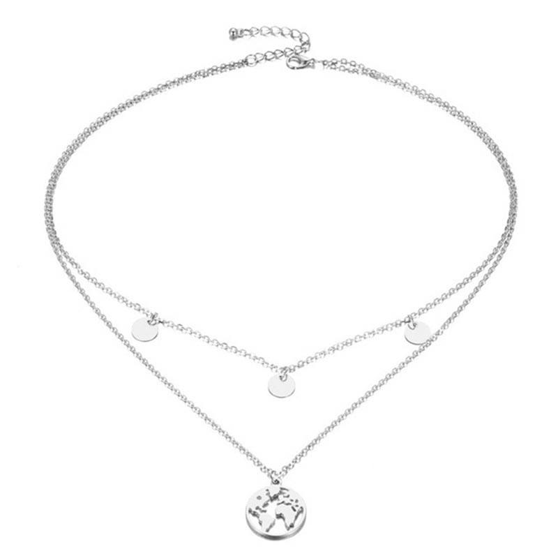The Teeny Tiny Little Shining Hearts Stars Holding Big Love Choker Necklaces Pendant Necklaces AILEND Official Store The Silver Double Earth Choker with Beads