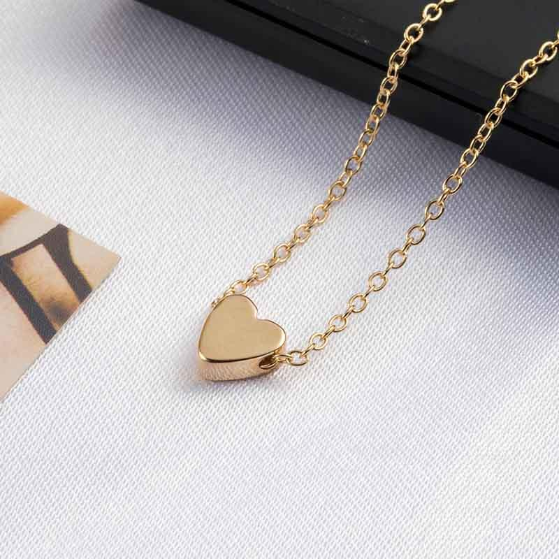 The Teeny Tiny Little Shining Hearts Stars Holding Big Love Choker Necklaces Pendant Necklaces AILEND Official Store Tiny Bling Heart Gold