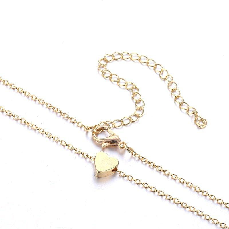 The Teeny Tiny Little Shining Hearts Stars Holding Big Love Choker Necklaces Pendant Necklaces AILEND Official Store Tiny Gold Heart
