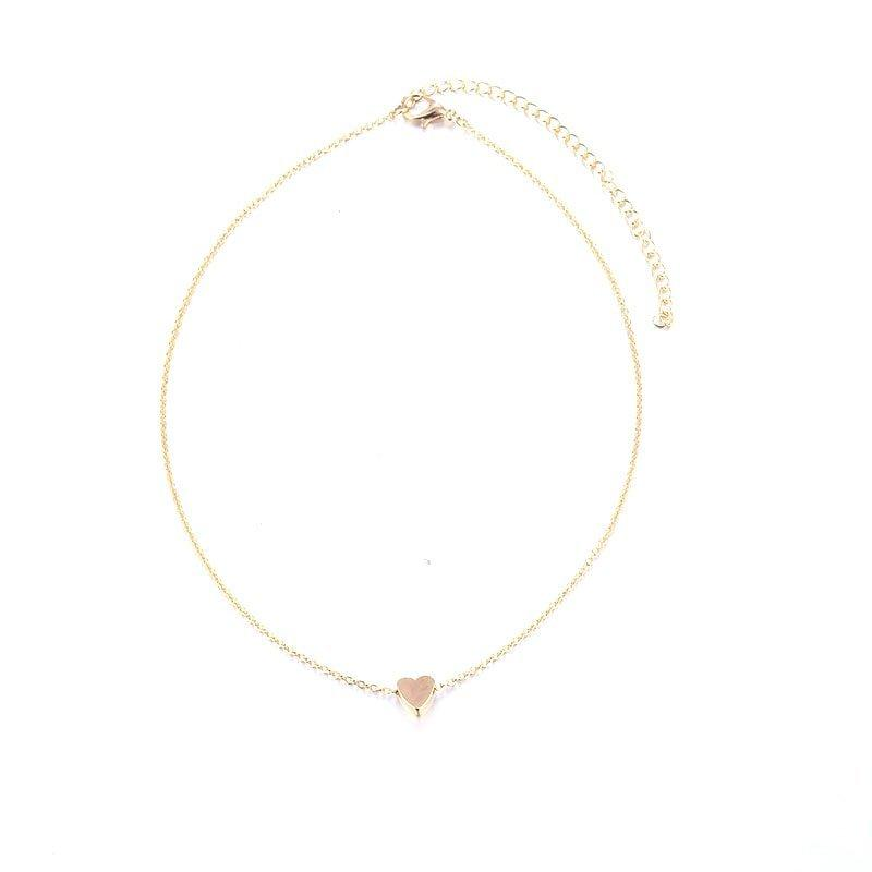The Teeny Tiny Little Shining Hearts Stars Holding Big Love Choker Necklaces Pendant Necklaces AILEND Official Store Tiny Gold Heart with Beaded Choker