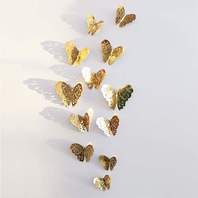 3D Hollow Metallic Shimmer Butterfly Addictive Decor Party Wall Stickers (12 Pcs) Wall Stickers White windmill Store Gold A