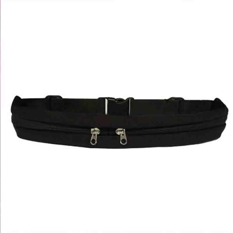 The Double Pocket WATERPROOF Sports Belt Bag Waist Packs McKovic Store Black