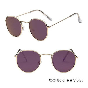 Classic Round Sun Street Beat Unix Mirror Sunglasses Women's Sunglasses RBROVO Official Store Gold Purple