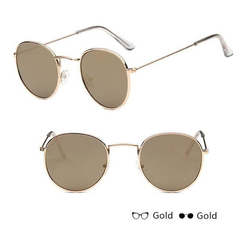 Classic Round Sun Street Beat Unix Mirror Sunglasses Women's Sunglasses RBROVO Official Store Gold Green