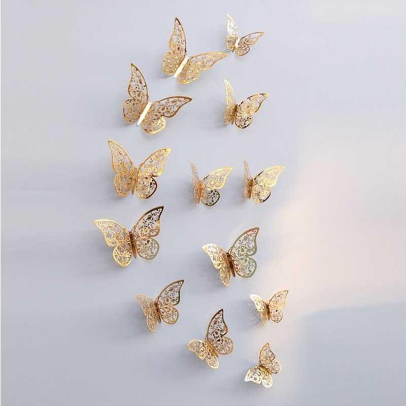 3D Hollow Metallic Shimmer Butterfly Addictive Decor Party Wall Stickers (12 Pcs) Wall Stickers White windmill Store Gold C