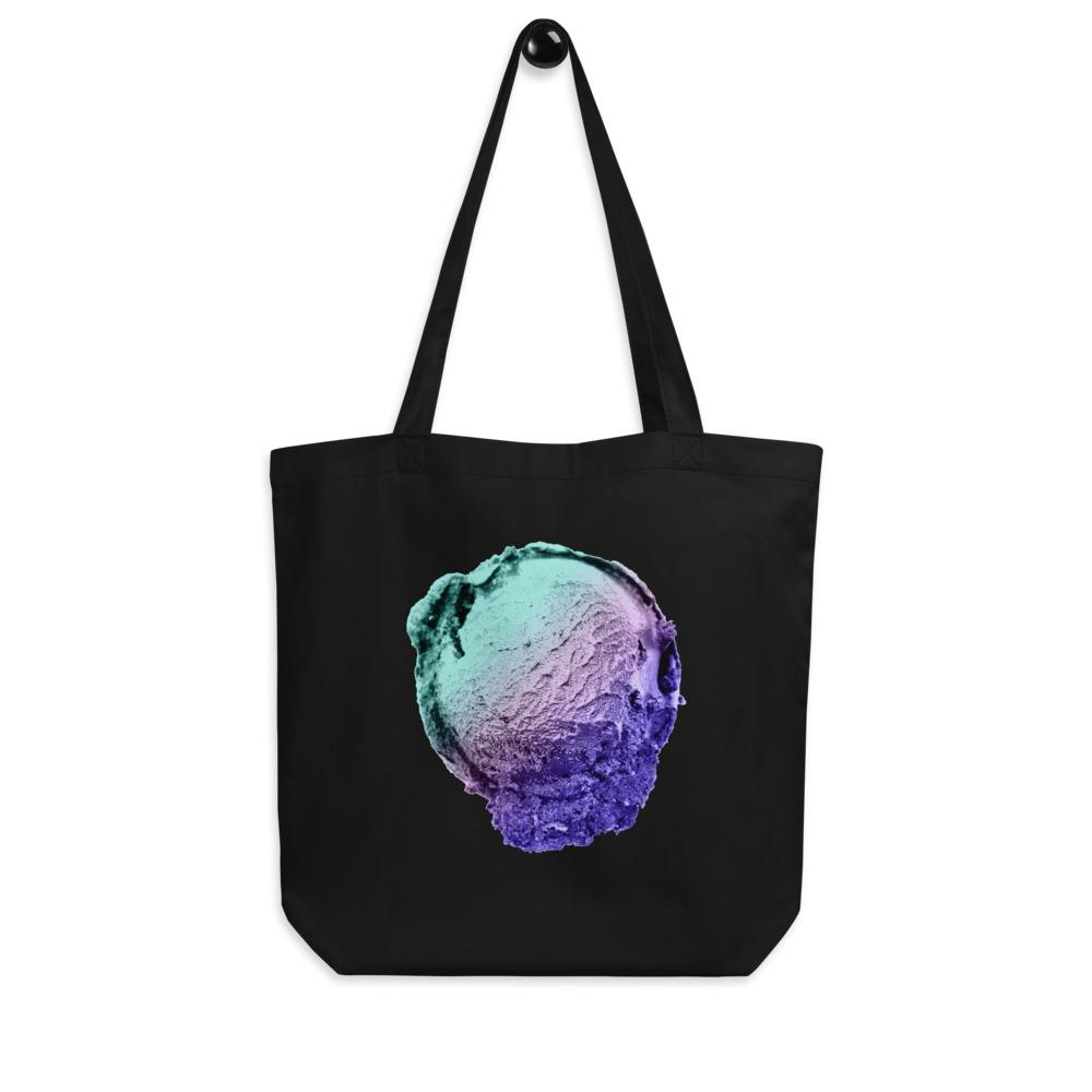 Eco Tote Bag - Ice Cream Ball FIGHT - Spearmint Lavender Smear HABIT Black