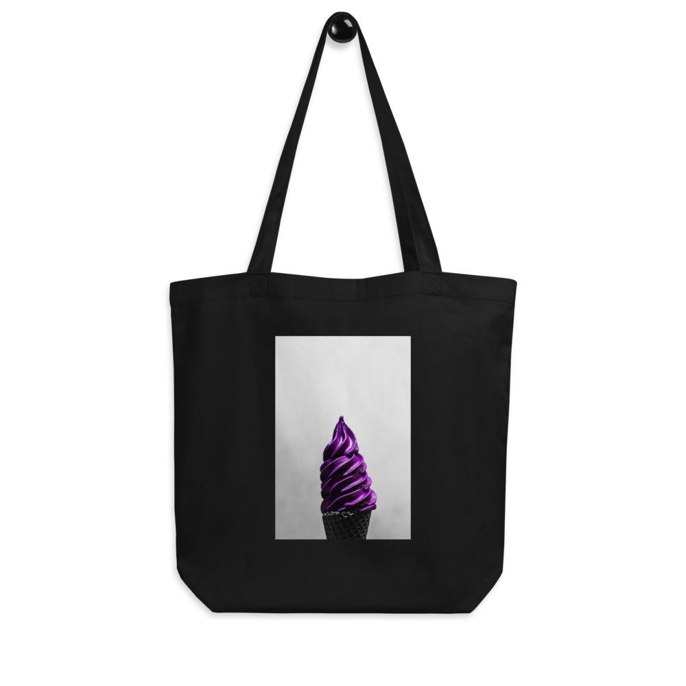 Eco Tote Bag - Ice Cream Swirl - Doesn't-Look-Real Purple Ube HABIT Black