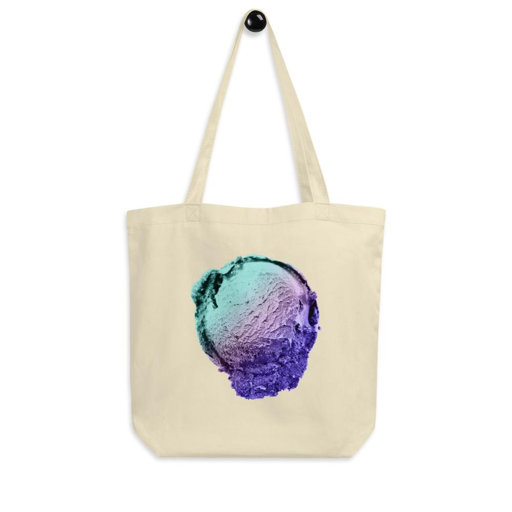 Eco Tote Bag - Ice Cream Ball FIGHT - Spearmint Lavender Smear HABIT Oyster
