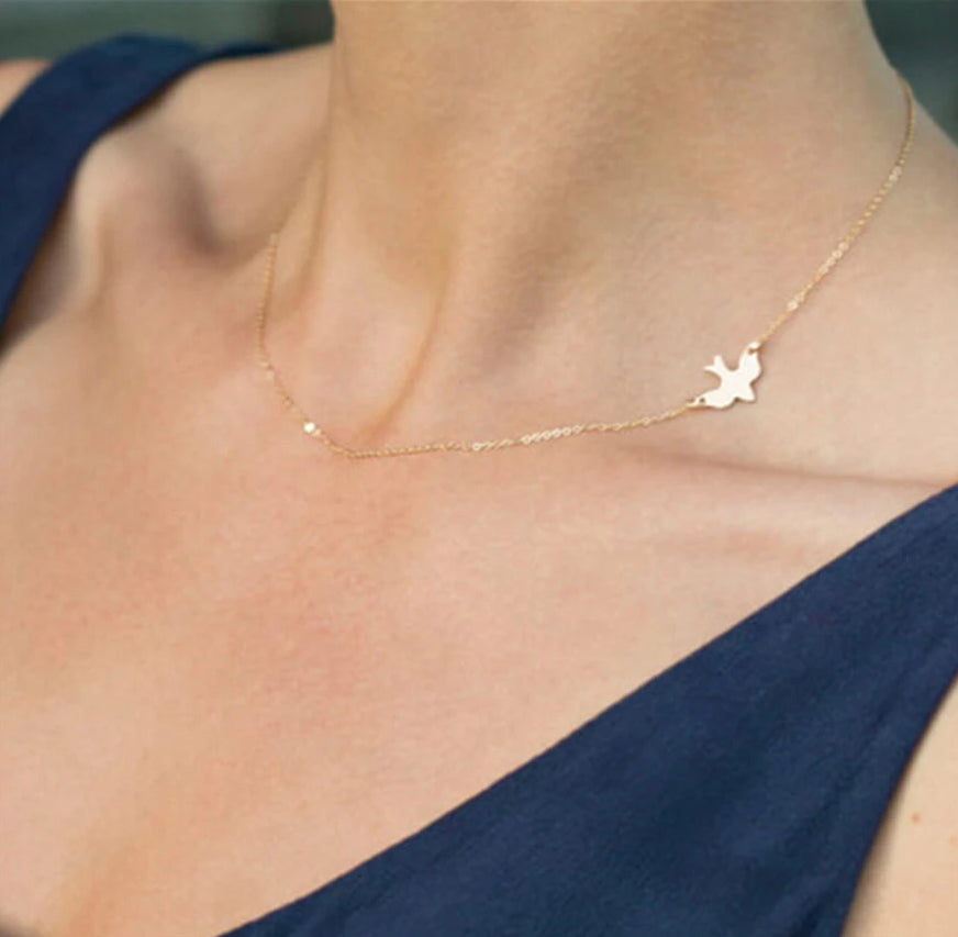 Simple Flying Love Bird Silver & Golden Pendant Necklace HABIT