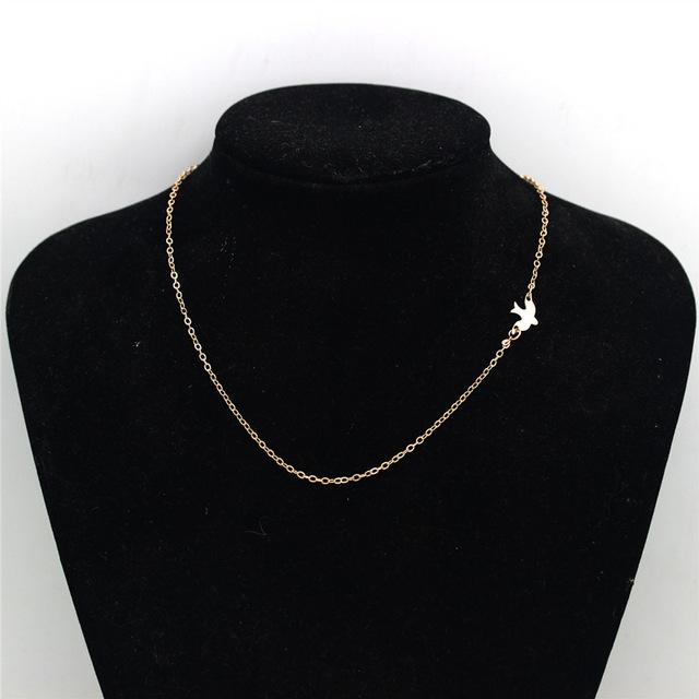 Simple Flying Love Bird Silver & Golden Pendant Necklace HABIT Gold