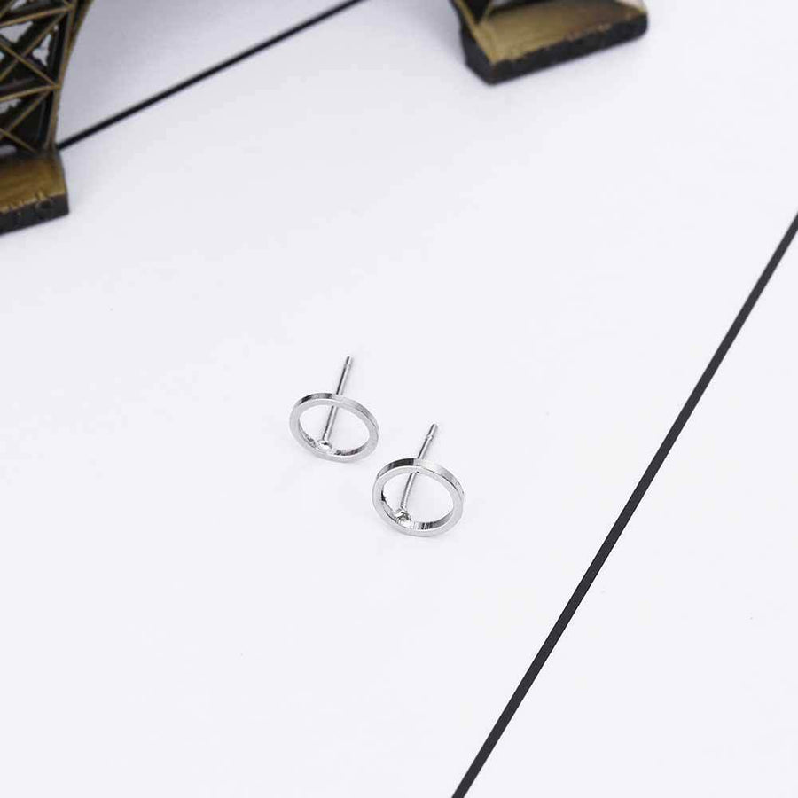 It Can't Get Any Simpler Punk Rock Retro Circle Stud Earrings Set HABIT Silver