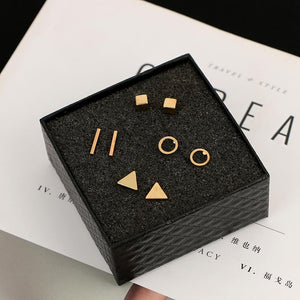 The Complete 4 Pair Set of Geometric Stud Earrings Set jisensp Official Store Gold