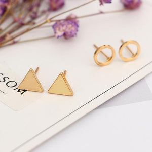 The Complete 4 Pair Set of Geometric Stud Earrings Set jisensp Official Store
