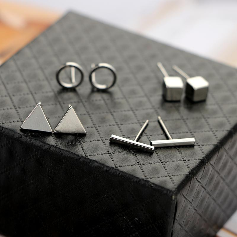 The Complete 4 Pair Set of Geometric Stud Earrings Set jisensp Official Store Silver