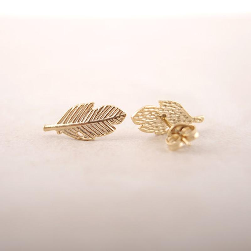 Eco-Friendly Angelic Punk Feather Leaf Stud Earrings HABIT Rose Gold