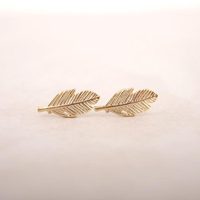 Eco-Friendly Angelic Punk Feather Leaf Stud Earrings HABIT Gold