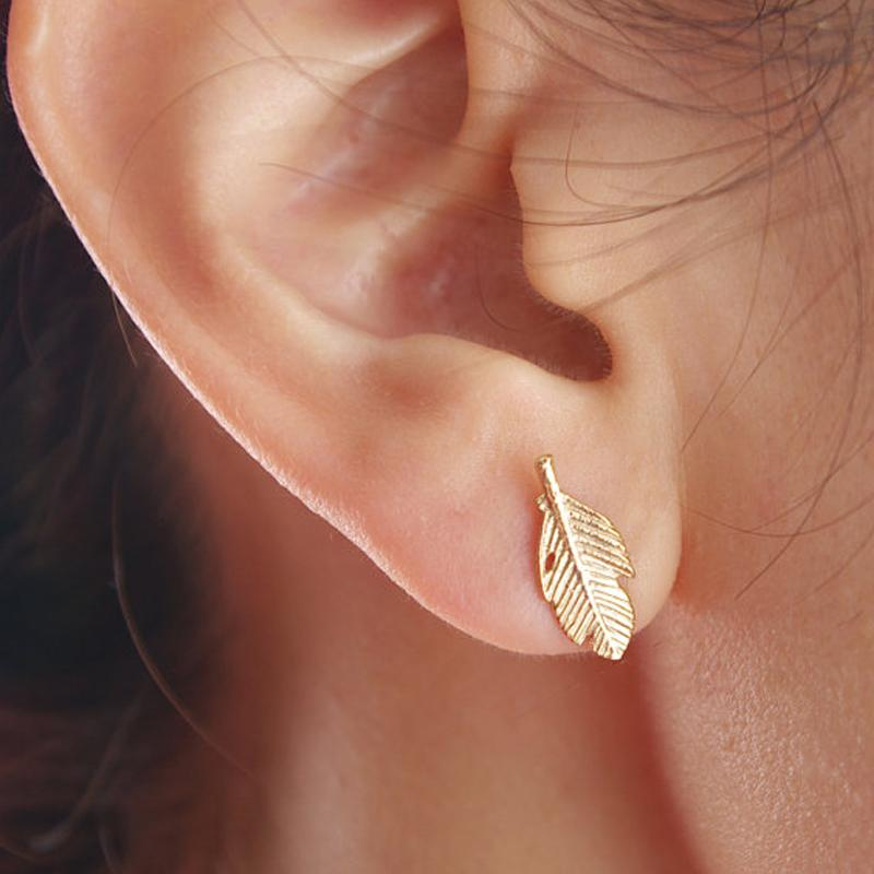 Eco-Friendly Angelic Punk Feather Leaf Stud Earrings HABIT