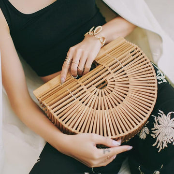 Eco-friendly 100% Organic Bamboo Half-Moon Summer Vacation Handbag Handmade Woven Tote Bag Nefeeko Online Store