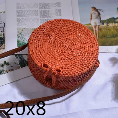 The Bali Island Handmade Woven Rattan Straw Bohemian Shoulder Crossbody Bag Collection Shoulder Bags AOILDLLI Official Store Orange & Minimal w. Bow (20cm x 8cm)