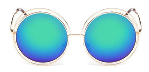 The Classic Retro Over Oversized Glasses Round Circle Stainless Steel Frame Mirror Sunglasses Women's Sunglasses SHENZHEN BO SHI TONG gold blue green