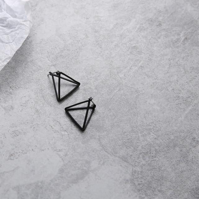 The 3D Geometric Architectural Art Sculpture Hollow Polygon Minimalist Earrings Collection Drop Earrings AllAccessories Online Store Small Black